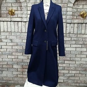 Zara navy blue wool maxi coat size XS